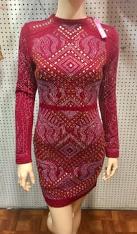 women's red and pink long-sleeved mini dress