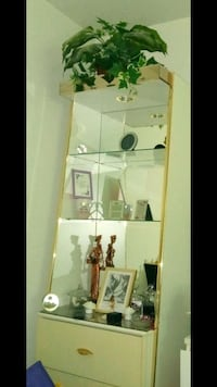 glass and lacque shelf with 3 drawers