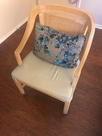 Set of wooden rolling chairs w/ cushions