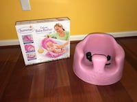 Summer baby bather brand new in box and pink Bumbo seat 37 km