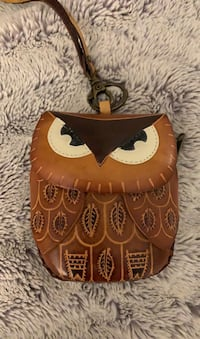 Leather owl wristlet purse