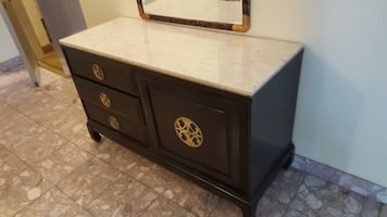 Solid wood cabinet & drawer furniture with dark fi
