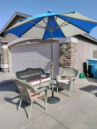 white and blue patio umbrella Phoenix, 85037