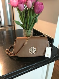 Authentic New with tags Tory Burch Britten clutch handbag - in color Bark Nordstrom  Toronto, M9C 1B8
