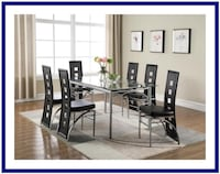 Glass Table Steel Legs & Black Or Red Chairs Wheat Ridge