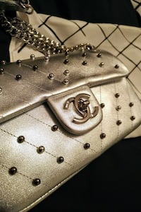 Platinum Silver Leather Chanel Purse with Pearls!