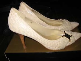 Women's white vianni leather stiletto platforms