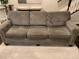 Sofa and Loveseat Microfiber Gray with Nail Heads