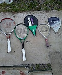 three assorted wilson tennis rackets with cover Williamsburg, 23185