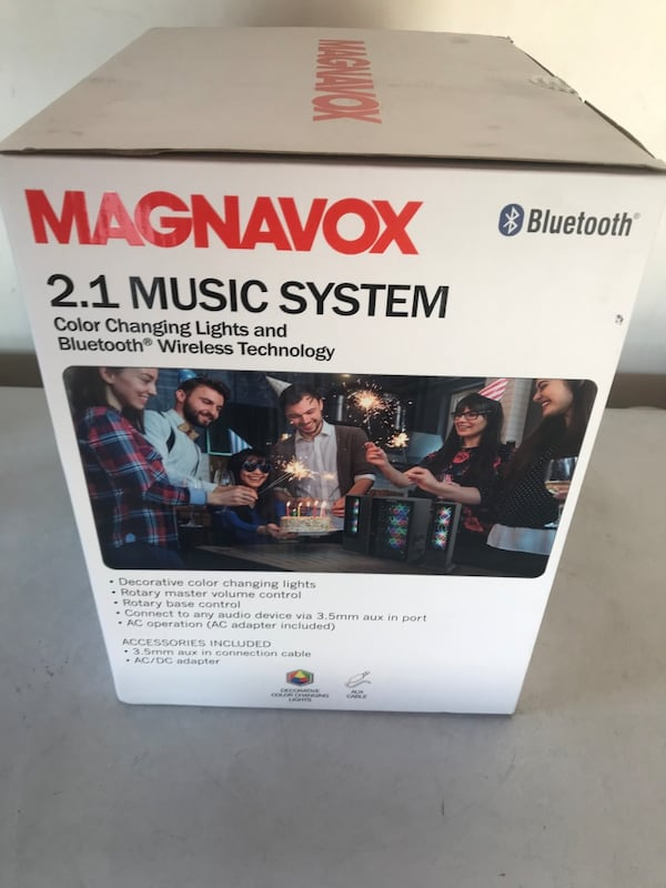 Magnavox 2.1 music system color changing lights and Bluetooth 713aa69f-cef8-4116-b1c6-7af847be62df