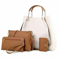 white and brown leather tote bag with wallet and wristlet Montreal, H4J 1E8