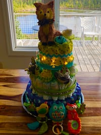 Blue, green, and yellow diaper cake Caledon, L7K