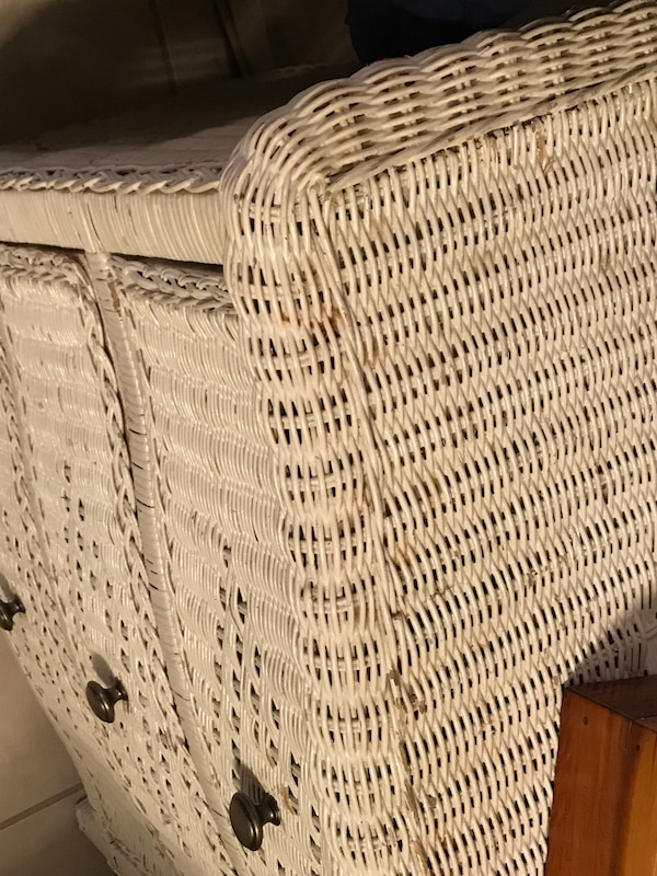 Small white wicker dresser