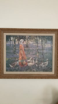 Woman in orange dress walking with ducks in forest painting with frame Olney, 20832