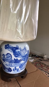 Exquisite and beautiful sky blue table lamp with a brand new shade