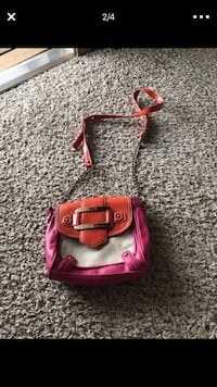 Pink and orange leather crossbody bag Charlotte, 28216