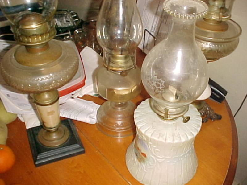 Four Unique Glass Oil Lamps Tallest 21 Inches 3a4ab1df-7927-4d26-ae60-5126f81c07b9