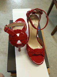 pair of red leather open-toe ankle strap heels Washington Township, 08080