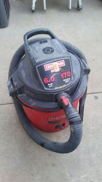 black and red Shop Vac wet and dry vacuum cleaner