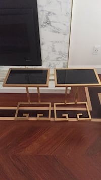 two beige-and-black glass tables Lexington, 02420
