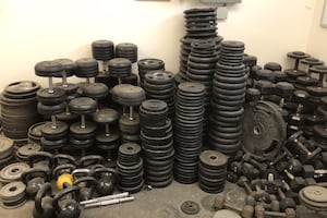 Dumbbells and Plates Rubber and Steal