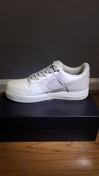 A pair of off white (bone color) nike air force 1 low shoe with box Hoover, 35226