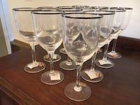 "New with tags Noritake crystal wine glasses. Set of 12 ""Paris"" 7-ounce wine glasses with platinum rim. Classic but modern. Retail for $20/glass. Selling set of 12 for $75. Smoke-free, pet-free Home. Cash only. North Herndon. Herndon, 20170"