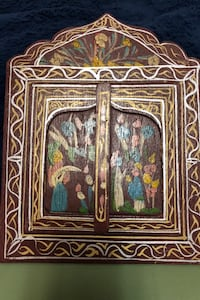Vintage hand painted wood with mirror.
