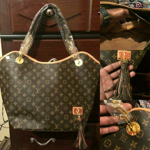 93f586f84d0a Used women s Louis Vuitton Monogram leather tote bag collage for ...
