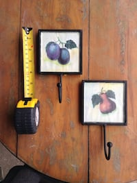 Kitchen decor, Pair of fruit hooks, glass front, pair for $5