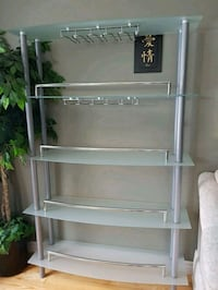 Modern glass bar shelf with wine glass display  Toronto, M3M 3G8