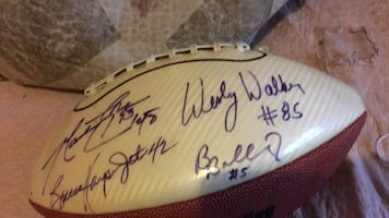 Signed jets football signed by many players and I will take less