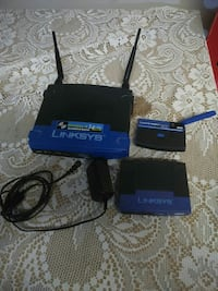 black-and-blue Linksys wireless router kit
