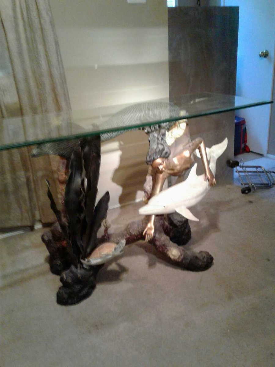 used mermaid and dolphin figure base glass table for sale in rh us letgo com