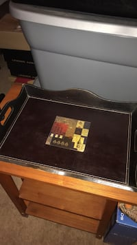 Serving tray w/leather bottom Johnstown, 15904