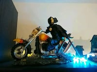 grey and orange chopper motorcycle scale model