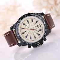 round silver-colored chronograph watch with brown leather strap Montreal, QC H2M 1P6, Canada