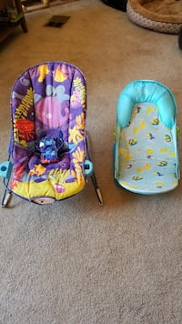 baby's purple and blue bouncer seat and bath suppo Tucson, 85741