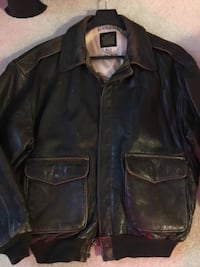 Authentic Leather Aviator Jacket-XL but also fits Large! New Price!  Toronto, M3H 5W9