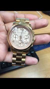 round gold Michael Kors chronograph watch with link bracelet Plano, 75074