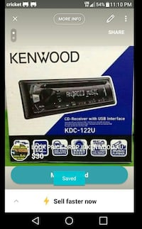 KENWOOD USB CD AUTO RECEIVER