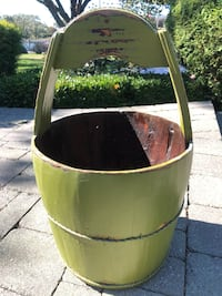 Large Green Farmhouse Wood Bucket ~ Home Goods Store Islip, 11751