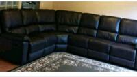 black leather sectional sofa with ottoman Surrey, V3W 4M9