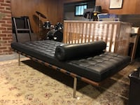 Black Leather chaise lounge with wood frame  Chevy Chase Section Three, 20815