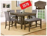 Manning Rustic Brown Counter Height Dining Set Houston