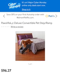 Paws life deluxe convertible pet ramp and steps .. it cost $80 -$30=50