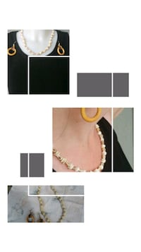 Puka shell necklace & tricolor hoop earrings  Kitchener, N2G 4X6