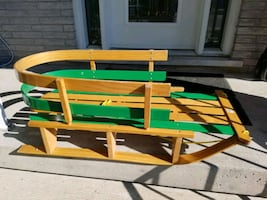 child's wooden pull sleigh