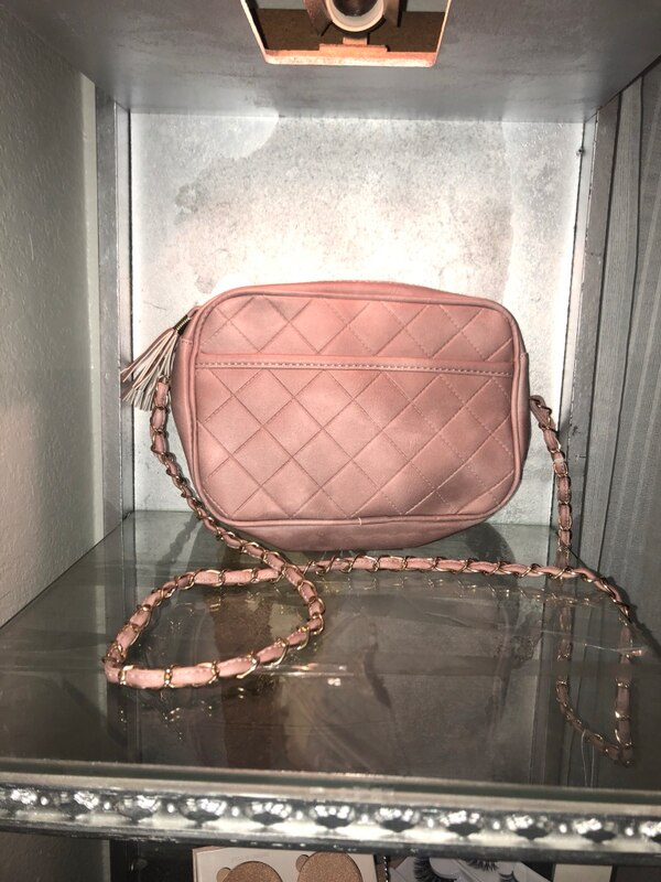 quilted pink crossbody bag