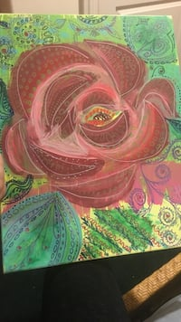 painting of red rose with green leaf Warren, 07059